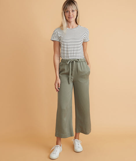 Aly Wide Leg Pant in Olive