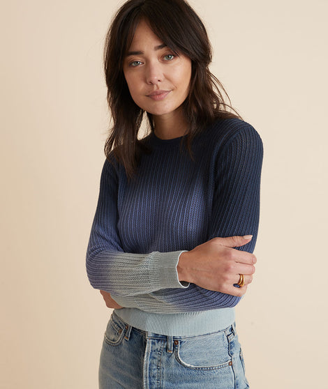 Jess Crewneck Sweater in Blue Ombre