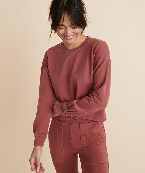 Tate Crop Sweatshirt in Red Ochre