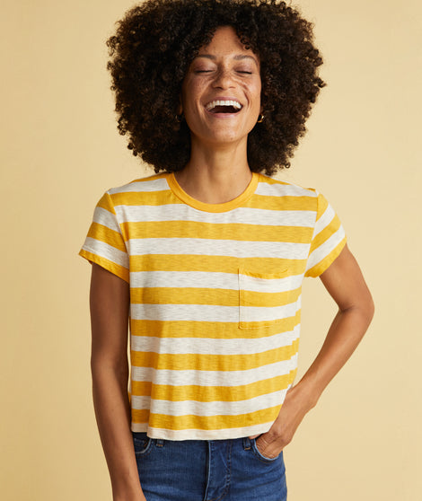 Crop Classic Crewneck in Yellow Stripe