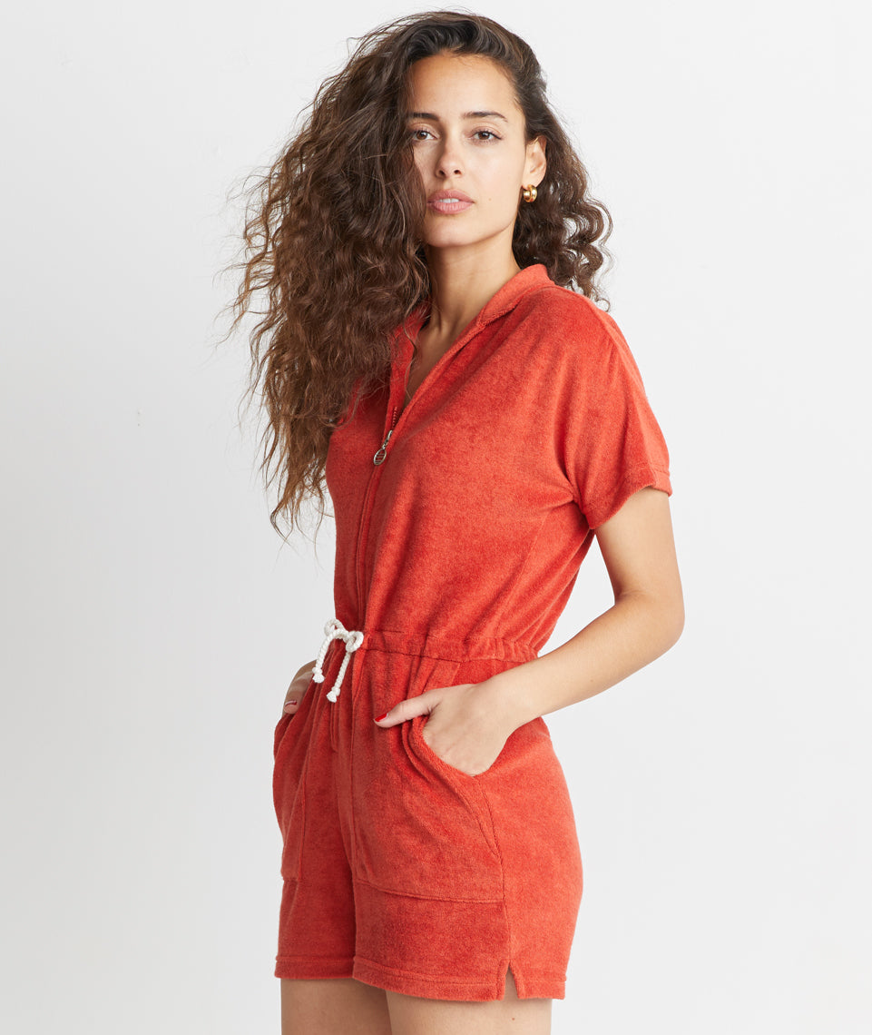 e982be3c554246 Terry Out Romper in Cherry