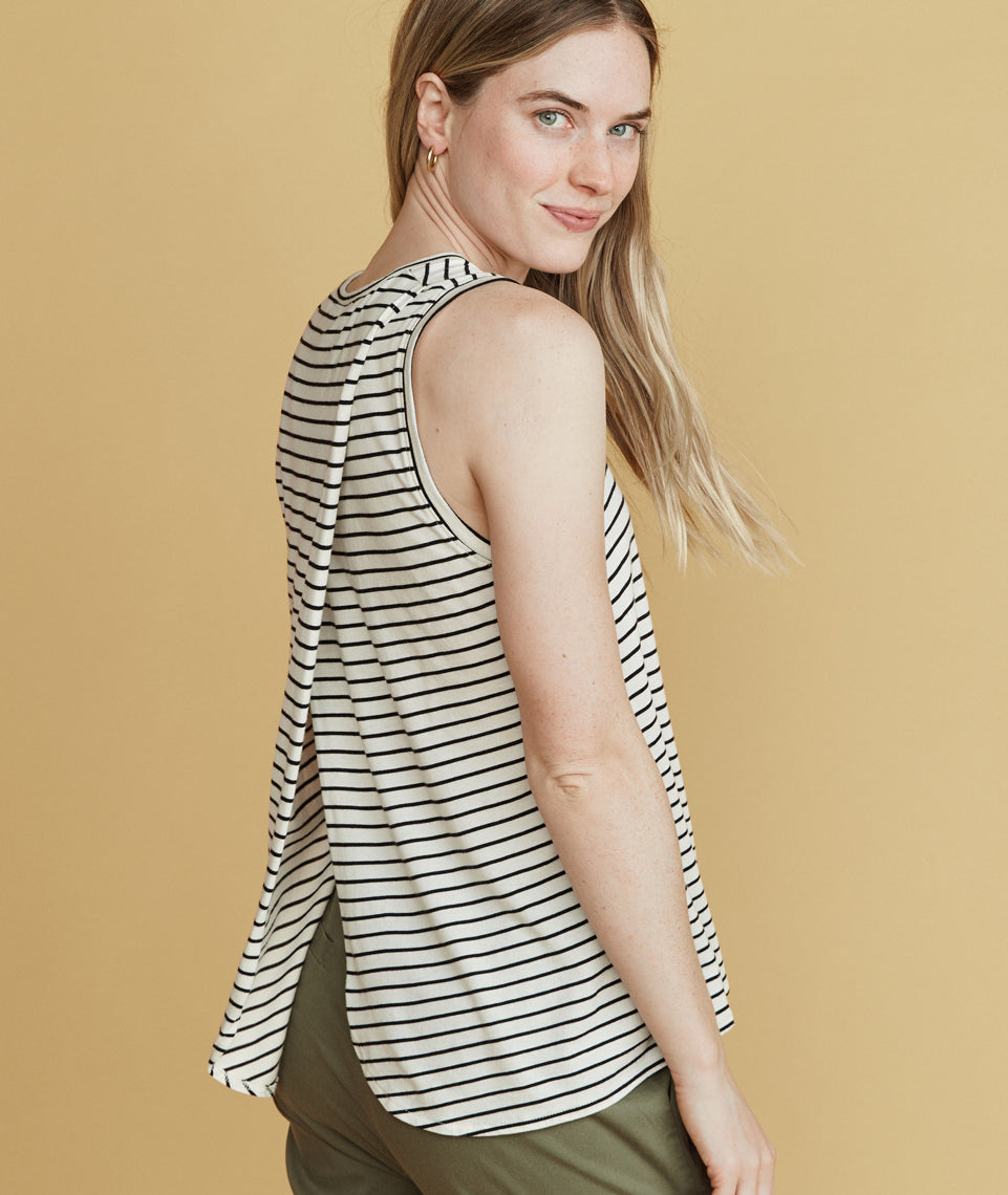 Tulip Back Tank in White/Black Stripe