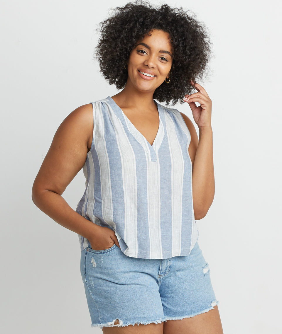 Tory Stripe Tank in Blue Stripe