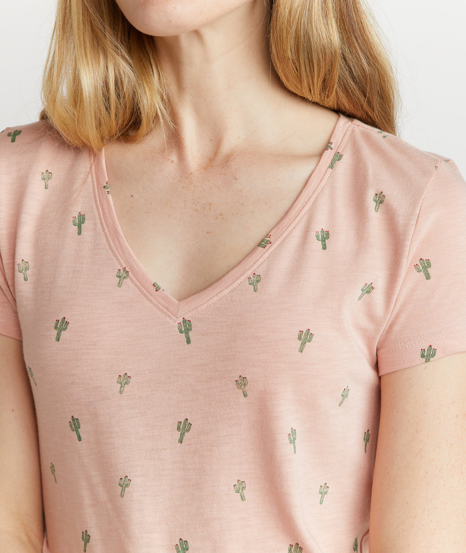 V-Neck Tee in Cactus Print