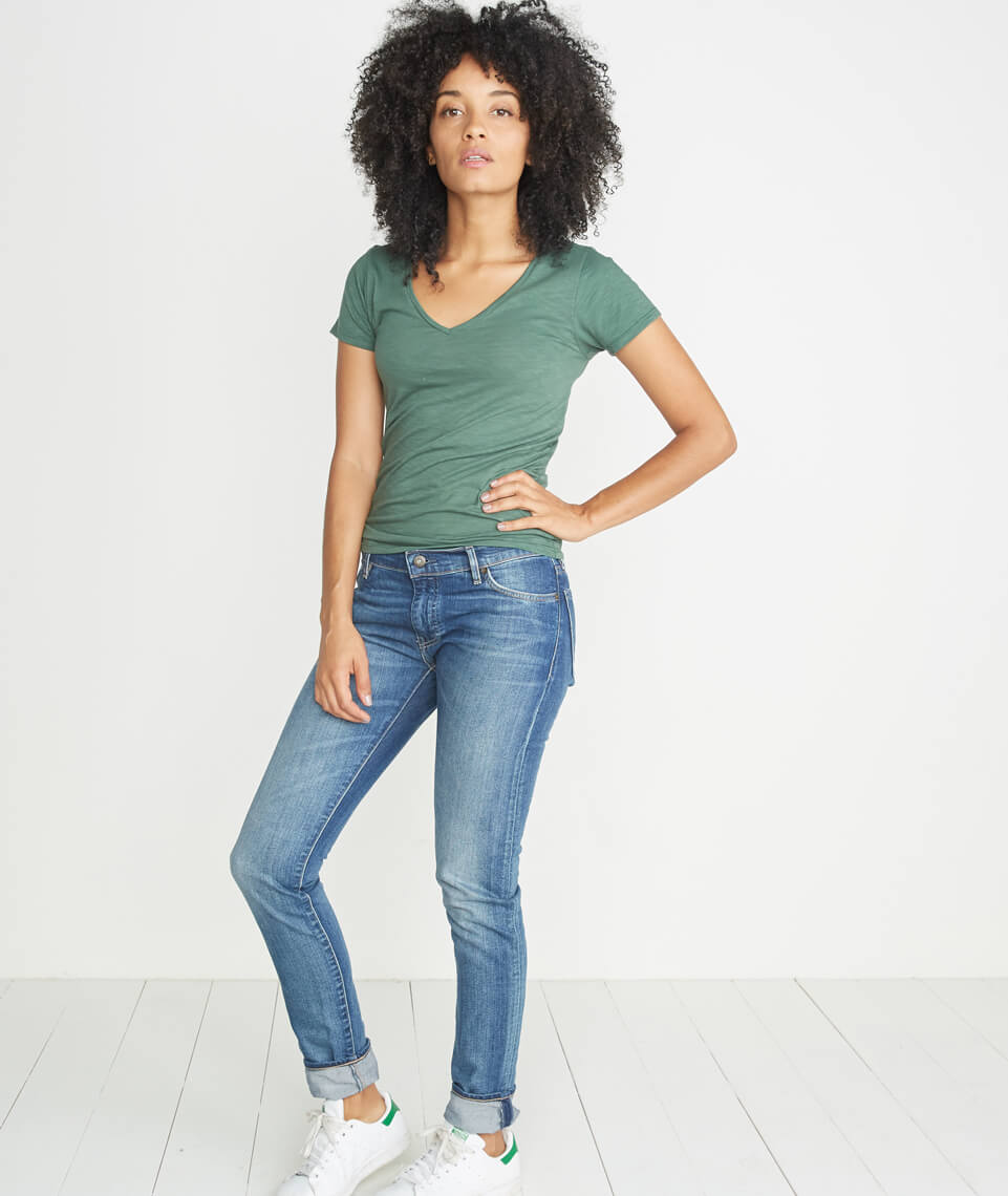 V-Neck in Forest Green