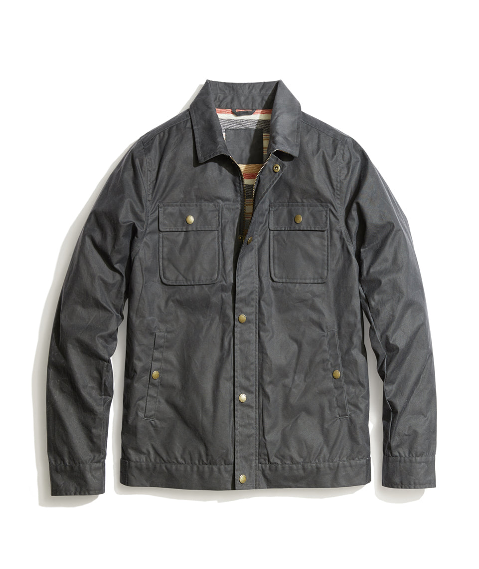 Waxed Canvas Trucker Jacket In Grey Marine Layer