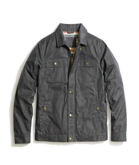 Waxed Canvas Trucker Jacket in Grey