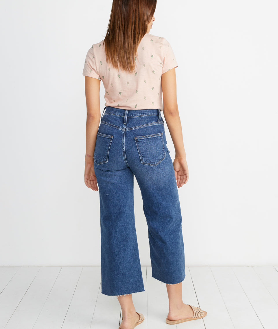 Wide Leg Crop Jean in Medium Wash