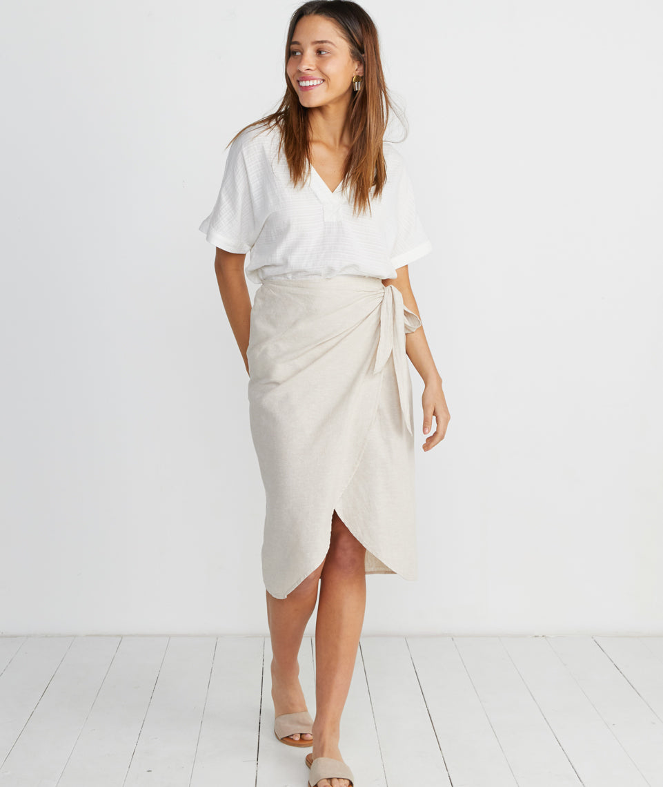 Wrap Midi Skirt in Khaki
