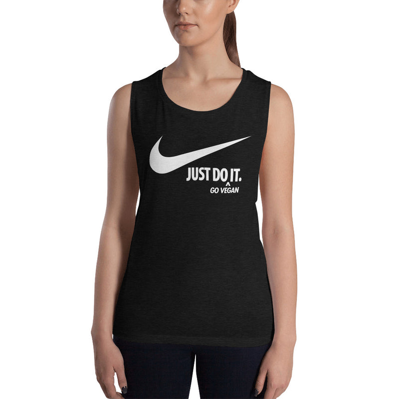 Just Do It (Go Vegan) Ladies' White Print Muscle Tank