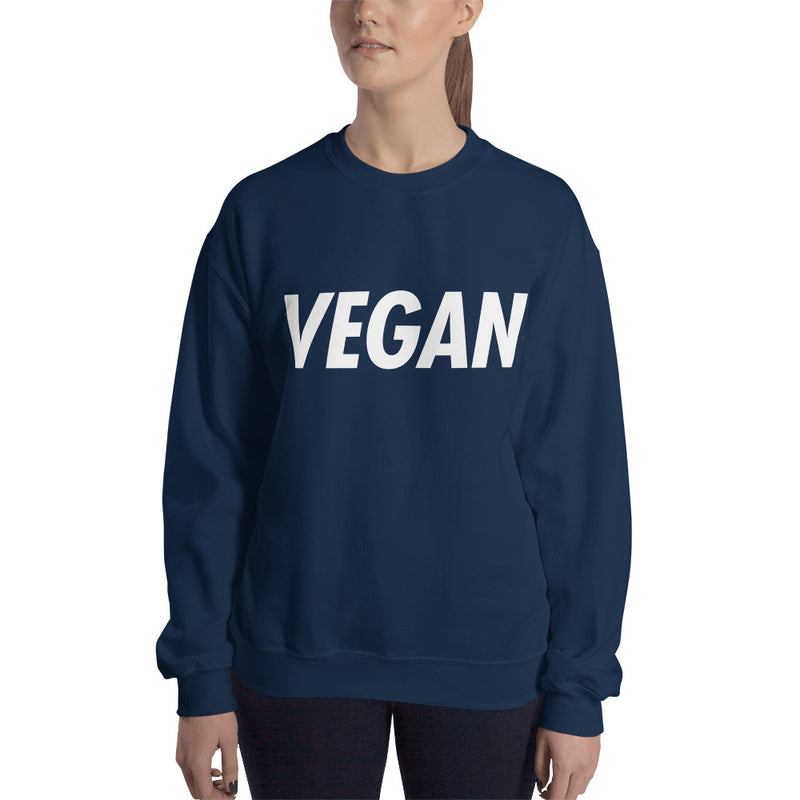 VEGAN: Trying to Suck Less (on back) White Print Unisex Sweatshirt