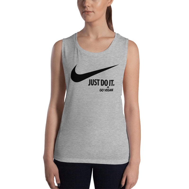Just Do It (Go Vegan) Ladies' Black Print Muscle Tank