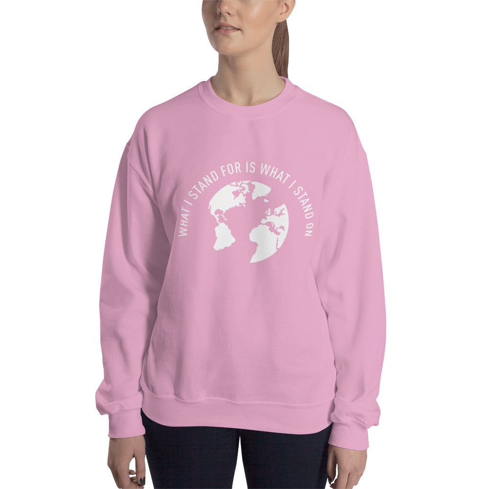 What I Stand For Half Moon White Print Sweatshirt (Unisex)