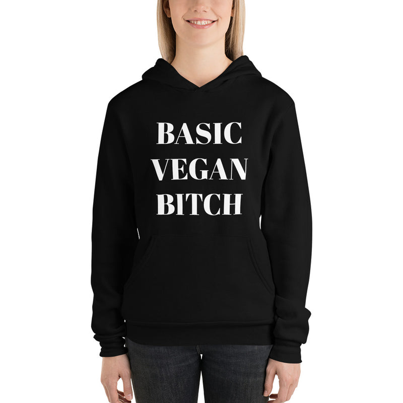 Basic Vegan Bitch Fleece Hoodie in Black & White (Unisex)