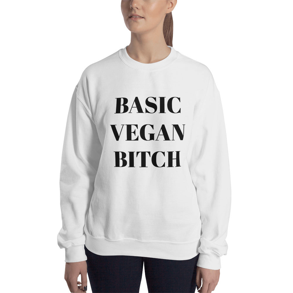 Basic Vegan Bitch Black Print Sweatshirt (Unisex)