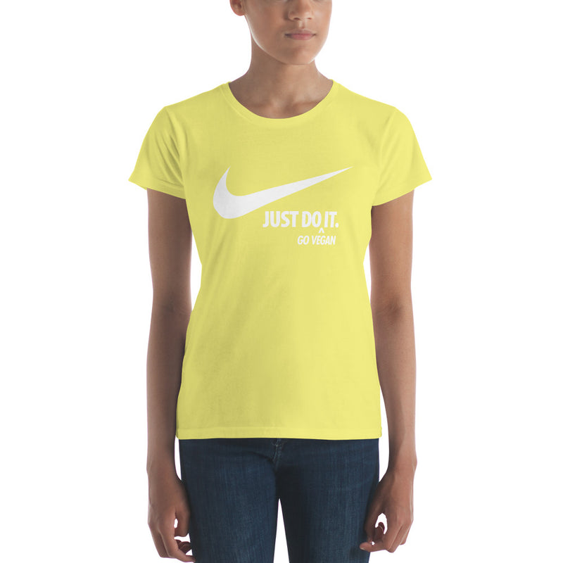Just Do It (Go Vegan) Women's White Print Basic Tee