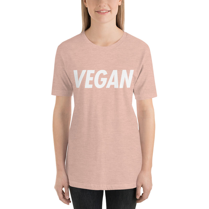 VEGAN: Trying to Suck Less (on back) Unisex Tee White Print