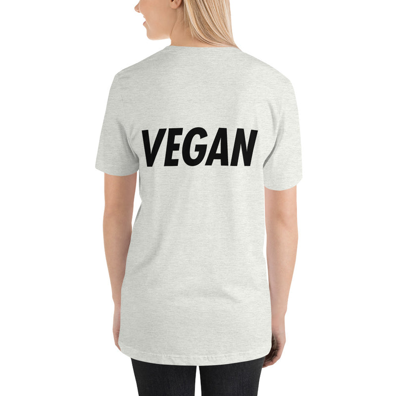 Trying to Suck Less: VEGAN (on back) Black Print Unisex Tee
