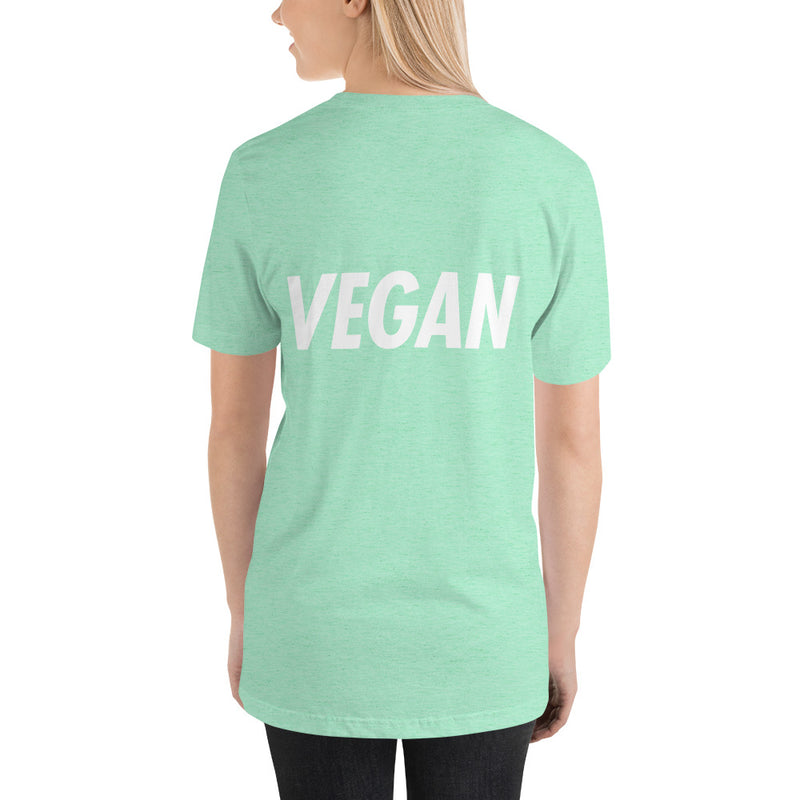 Trying to Suck Less: VEGAN (on the back) White Print Unisex Tee