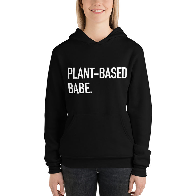Plant-Based Babe Fleece Hoodie in Black & White (Unisex)