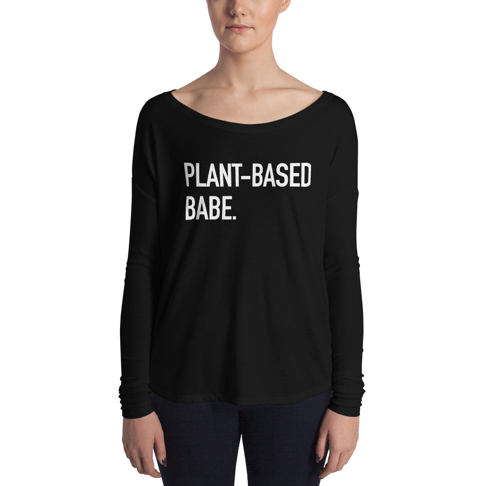 Plant-Based Babe White Print Ladies' Long Sleeve Tee