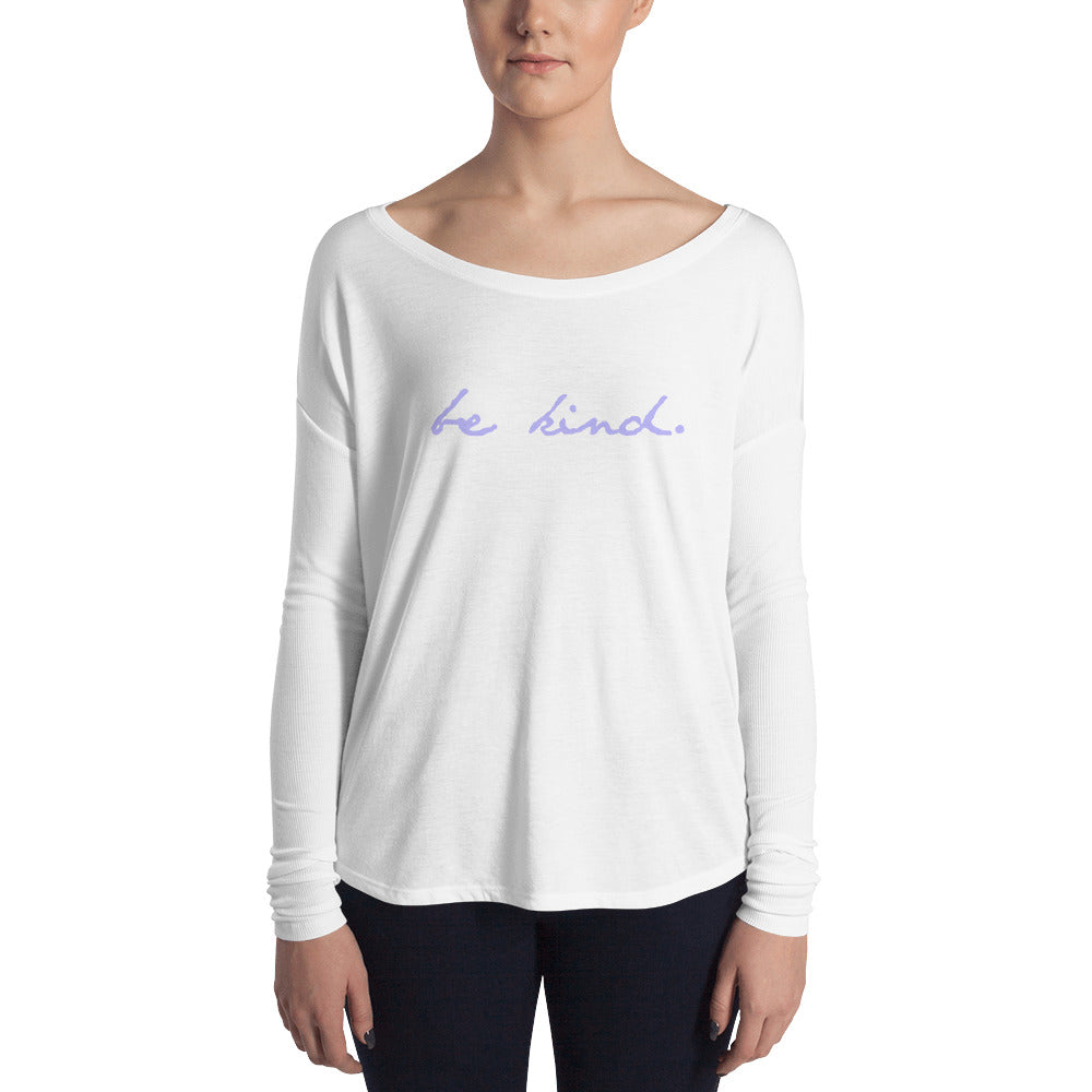 Be Kind Ladies' Long Sleeve Tee (Lavender Print)