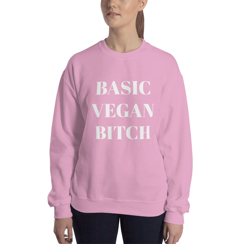 Basic Vegan Bitch White Print Sweatshirt (Unisex)