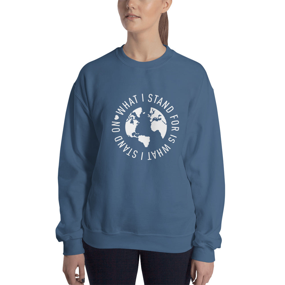 What I Stand For Full Circle White Print Sweatshirt (Unisex)