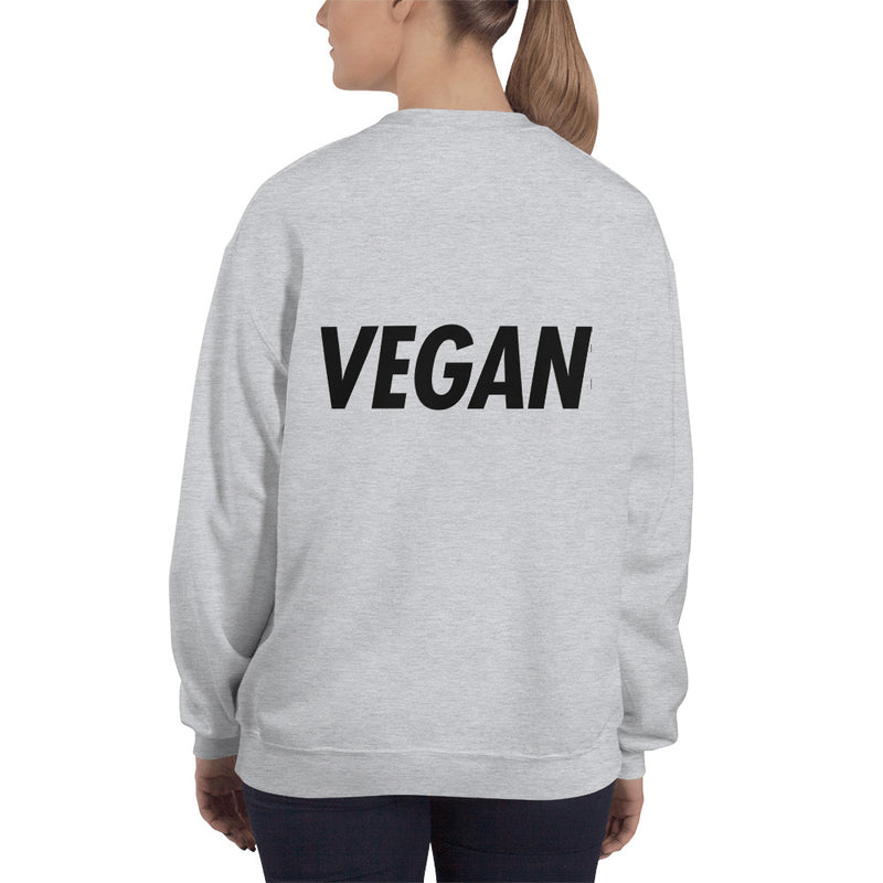 Trying to Suck Less: VEGAN (on back) Unisex Sweatshirt Black Print