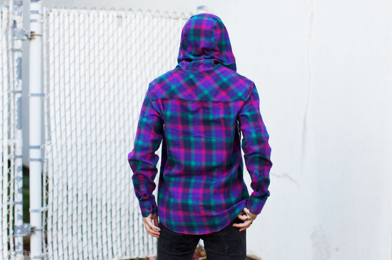 Electric Plaid Flannel Hoodie