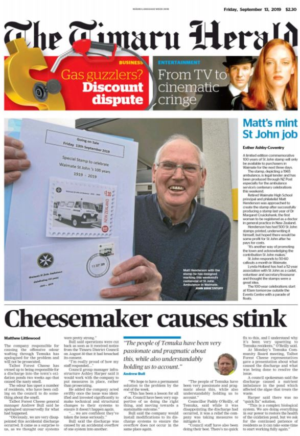 The Timaru Herald front page.