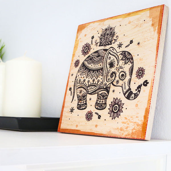 Elephant with the trunk up feng shui wood sign woodific - Elephant meaning feng shui ...