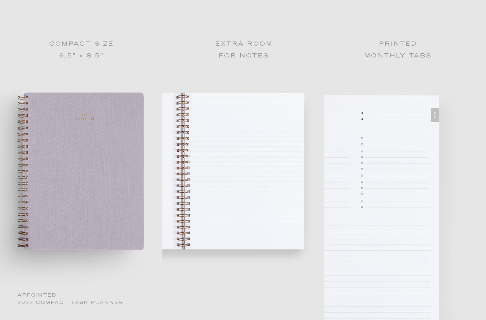 A 3-part image shows details of the 2022 Compact Task Planner including compact size, extra room for notes, and printed monthly tabs