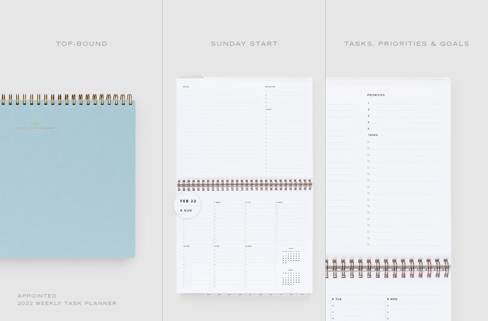 A 3-part image details features of the Weekly Task Planner including its top-spiral, Sunday start, and task & priorities lists.