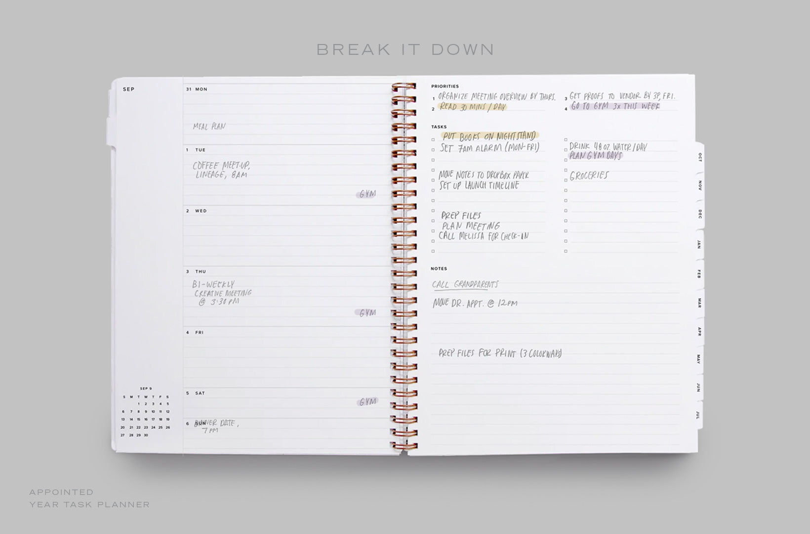 A Year Task Planner lies open to the weekly spread, with priorities, tasks, and schedule filled in