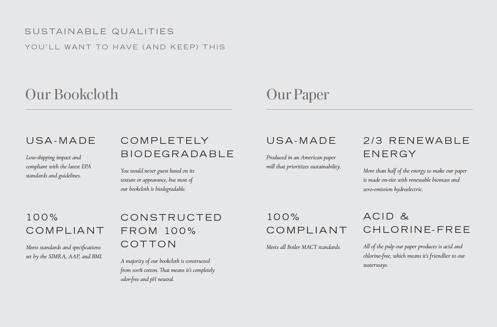 Appointed sustainable qualities chart outlines how our green commitment adds up