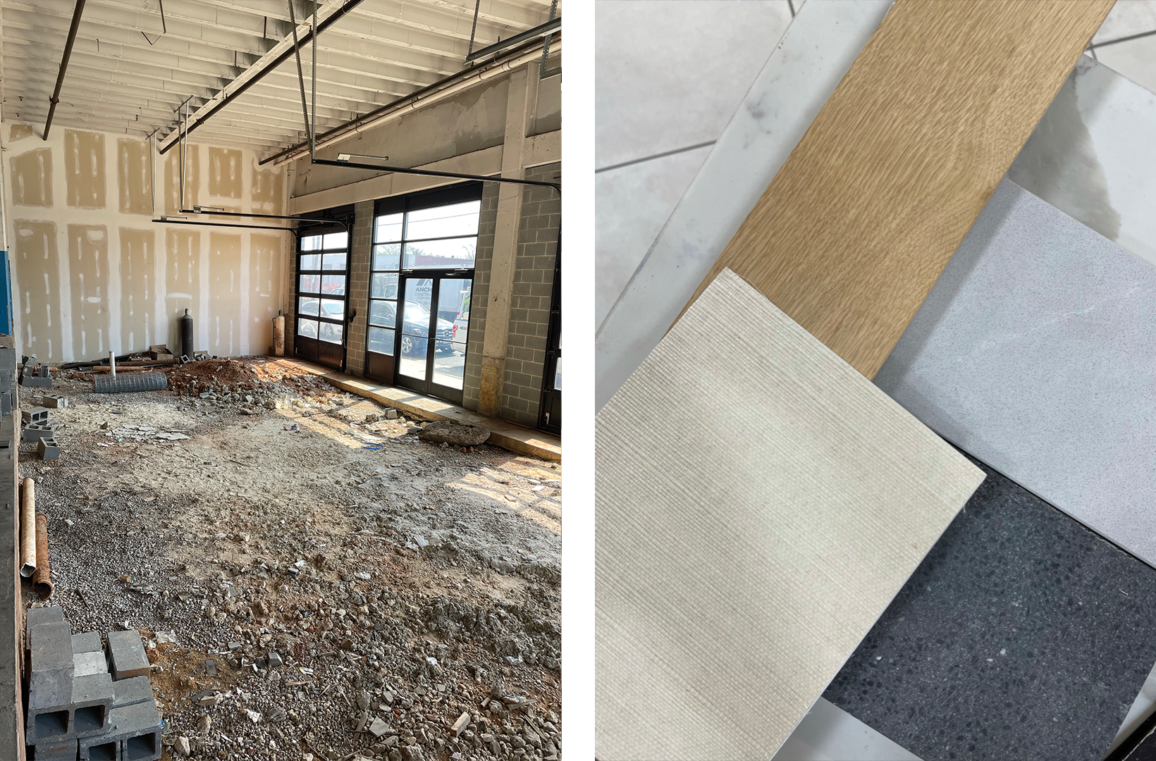 Left: The Appointed District Shop space under construction; Right: Materials sourced for the Appointed District Shop