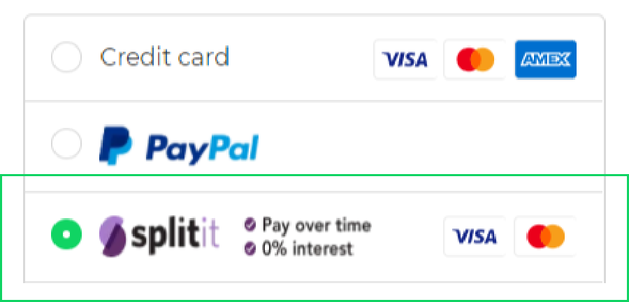 Choose Splitit as your payment method and click complete order.