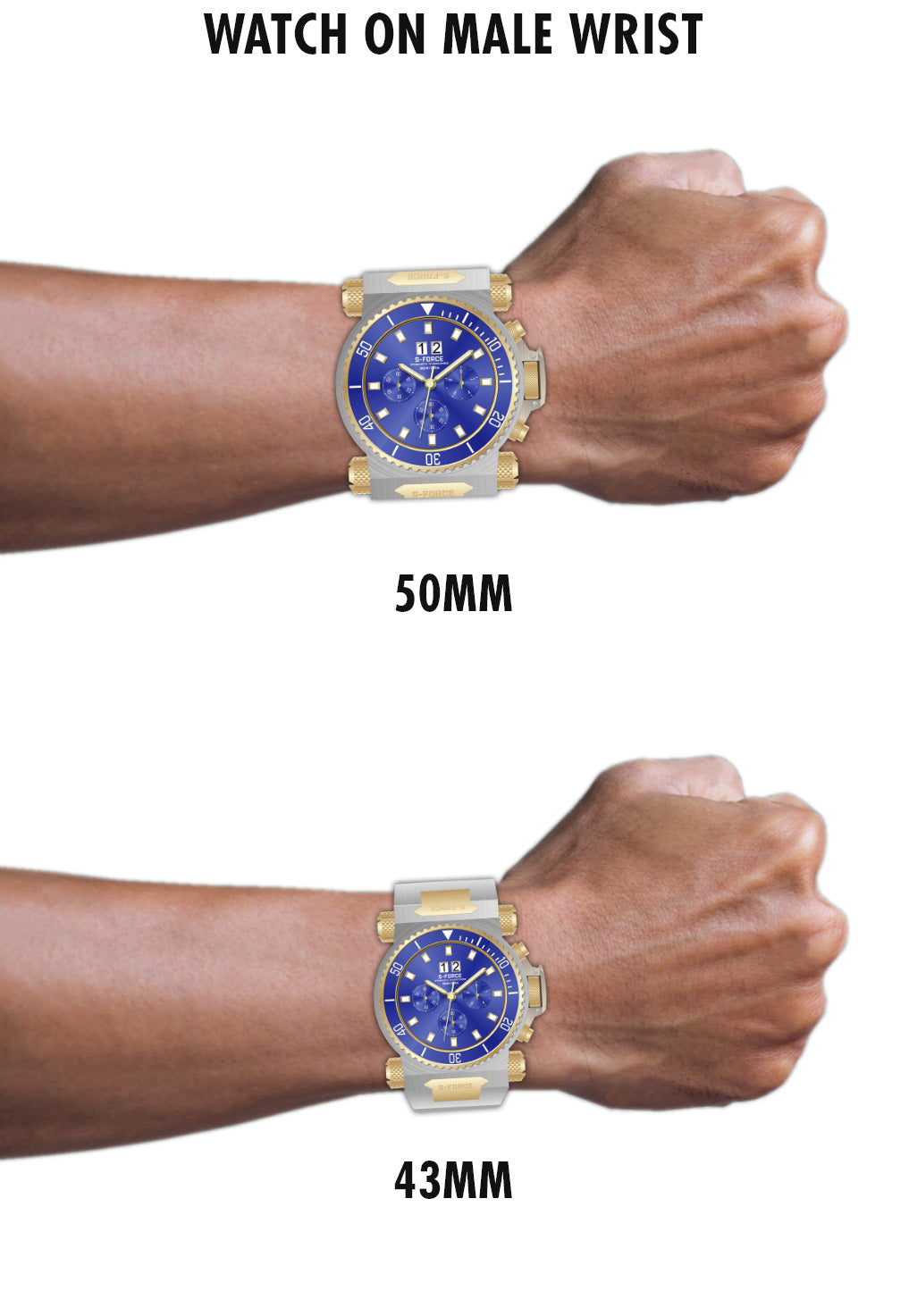 Watch on male wrist