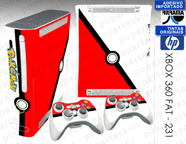 XBOX 360 FAT SKIN - XBOX 360 FAT SKIN -  Pokemon Pokebola - Pop Arte Skins Adesivos