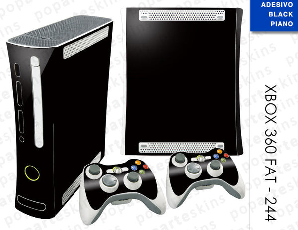 XBOX 360 FAT SKIN - Preto Sólido Black Piano