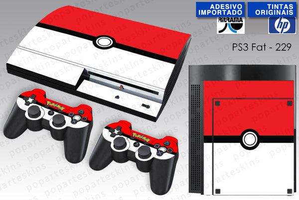 PS3 FAT SKIN - PS3 FAT SKIN - Pokemon Pokebola - Pop Arte Skins Adesivos