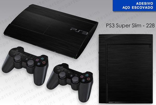 PS3 SUPER SLIM SKIN - PS3 SUPER SLIM SKIN - Aço Escovado Preto - Pop Arte Skins Adesivos