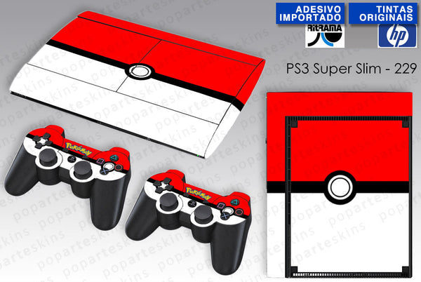 PS3 SUPER SLIM SKIN - PS3 SUPER SLIM SKIN - Pokemon Pokebola - Pop Arte Skins Adesivos