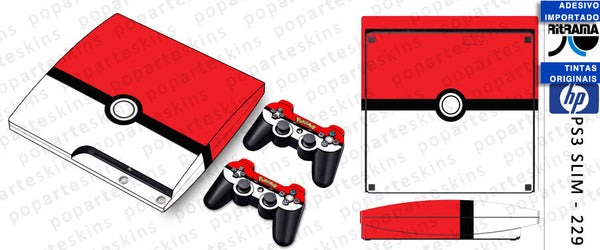 PS3 SLIM SKIN - PS3 SLIM SKIN - Pokemon Pokebola - Pop Arte Skins Adesivos