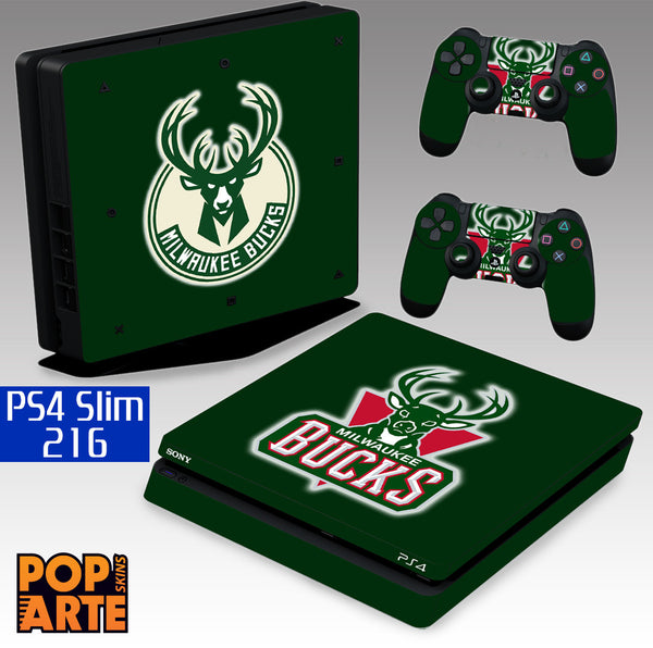 PS4 SLIM SKIN - Milwaukee Bucks - Basquete