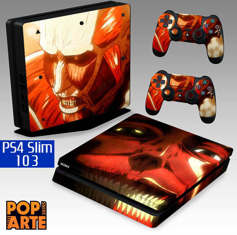 PS4 SLIM SKIN - PS4 SLIM SKIN - Attack On Titan - shingeki no kyojin - Pop Arte Skins Adesivos