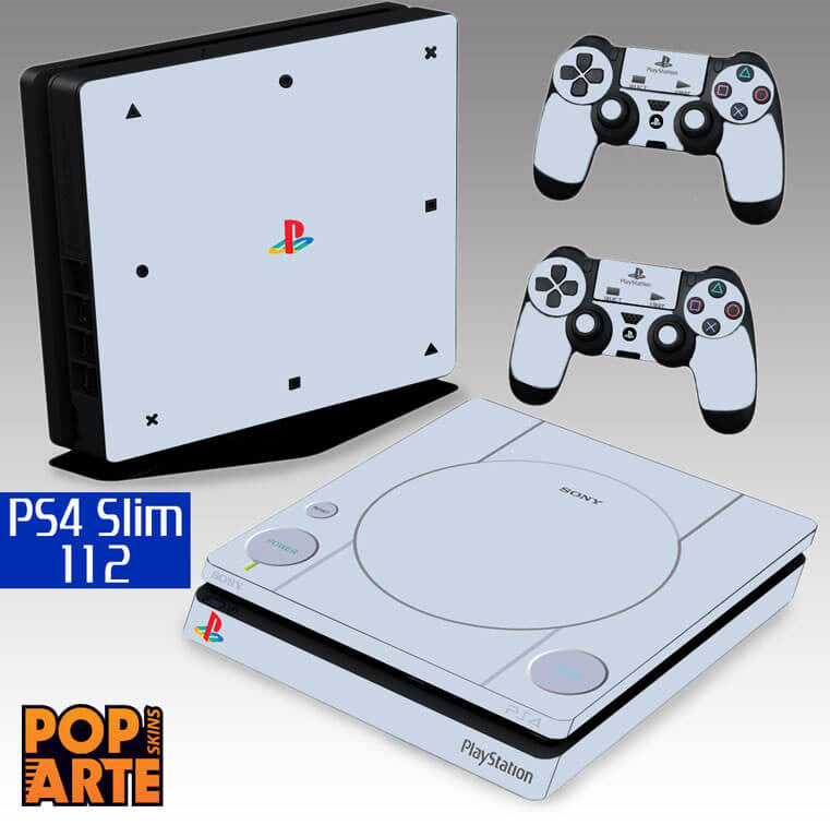PS4 SLIM SKIN - PS4 SLIM SKIN - Sony Playstation 1 - Pop Arte Skins Adesivos