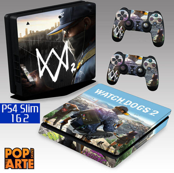 PS4 SLIM SKIN - PS4 SLIM SKIN - Watch Dogs 2 - Pop Arte Skins Adesivos