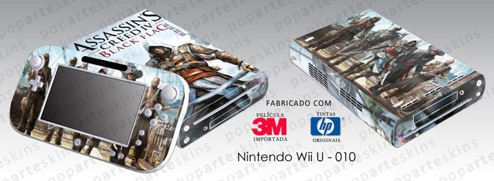 NINTENDO WII U SKIN - NINTENDO WII U SKIN - Assassins Creed IV Black Flag - Pop Arte Skins Adesivos